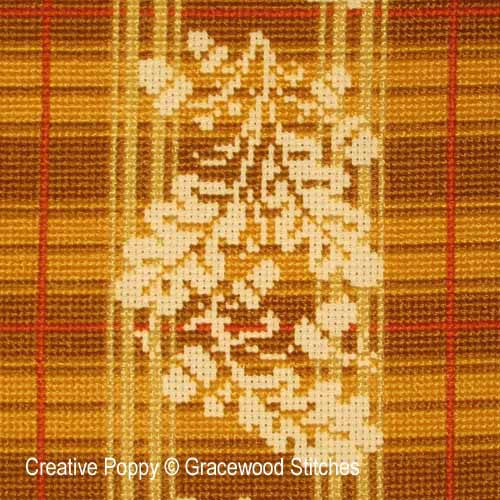 October - Homespun Oak cross stitch pattern by Gracewood Stitches, zoom 1