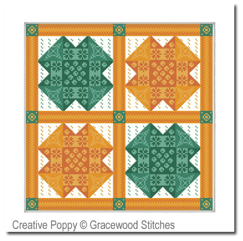 Vintage coverlet cross stitch pattern by Gracewood Stitches
