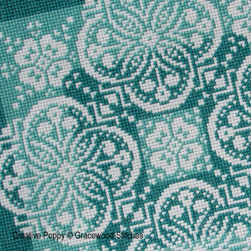 Shades of Jade (in the Traces of Lace series) cross stitch pattern by Gracewood Stitches, zoom 1