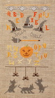 Trick or Treat with 3 playful kittens - cross stitch pattern - by Agnès Delage-Calvet