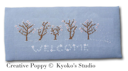Welcome Spring (Winds blow petals of white) cross stitch pattern by Kyoko's Studio