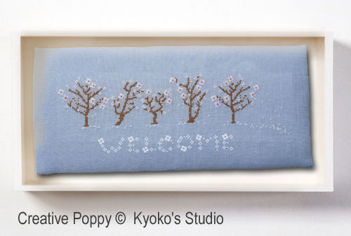 Welcome Spring (Winds blow petals of white) cross stitch pattern by Kyoko's Studio, zoom1