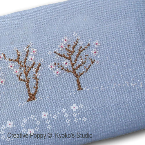 Welcome Spring (Winds blow petals of white) cross stitch pattern by Kyoko's Studio, zoom3