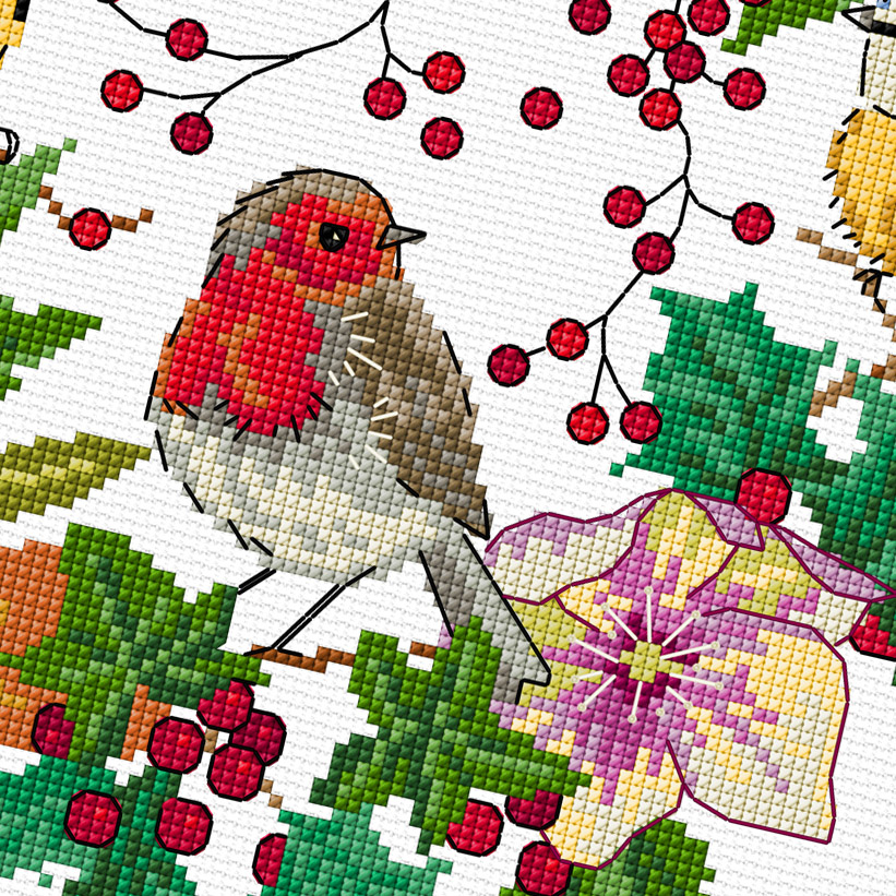 Winter Bird Wreath cross stitch pattern by Lesley Teare Designs, zoom 1