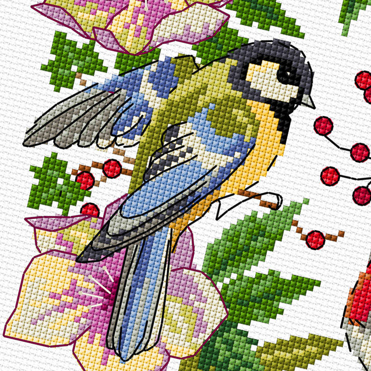 Lesley Teare Designs - Winter Bird Wreath (cross stitch chart)