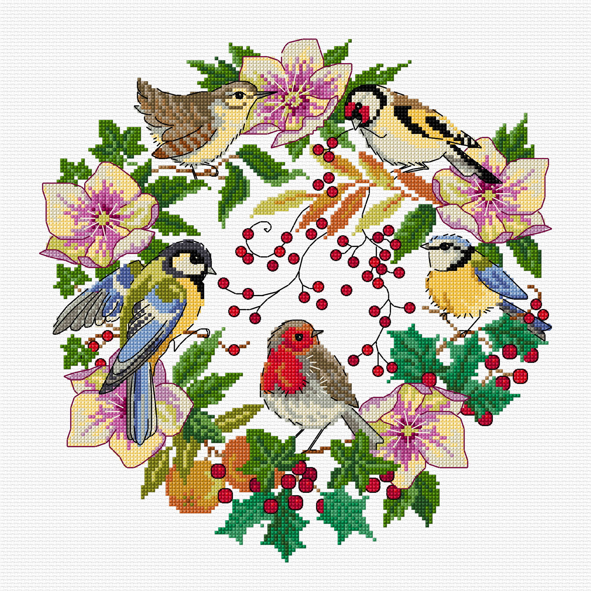 Winter Bird Wreath cross stitch pattern by Lesley Teare Designs