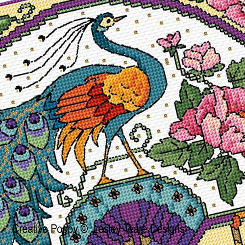 Glorious Peacock fan cross stitch pattern by Lesley Teare Designs