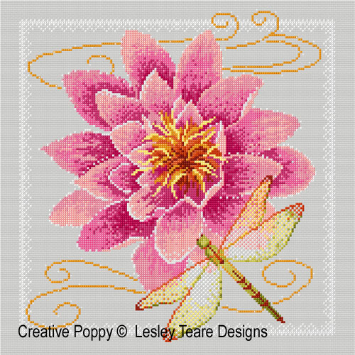 Waterlily and Dragonfly cross stitch pattern by Lesley Teare Designs