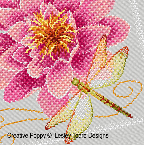 Waterlily and Dragonfly cross stitch pattern by Lesley Teare Designs, zoom 1