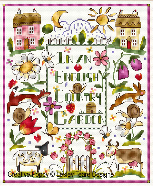 Folk Art Country Garden Sampler cross stitch pattern by Lesley Teare Designs