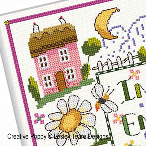Folk Art Country Garden Sampler cross stitch pattern by Lesley Teare Designs, zoom 1