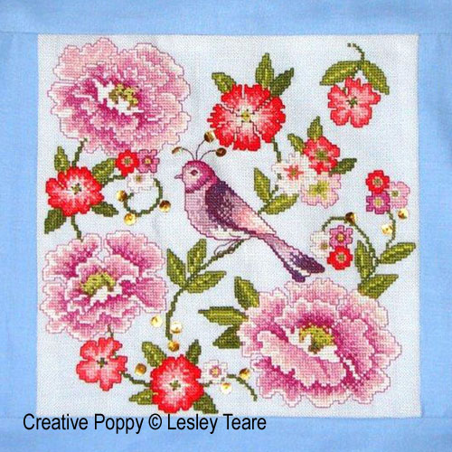 Oriental Flower Delight cross stitch pattern by Lesley Teare