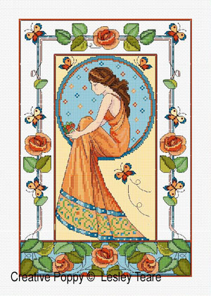 Lesley Teare Designs - Art Deco Rose Lady (Cross Stitch Pattern)
