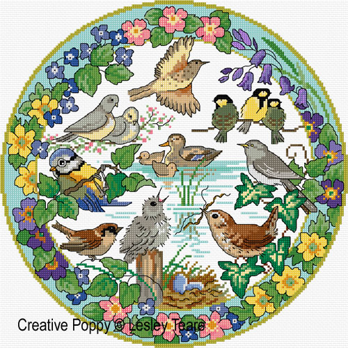 Birds in Spring cross stitch pattern by Lesley Teare