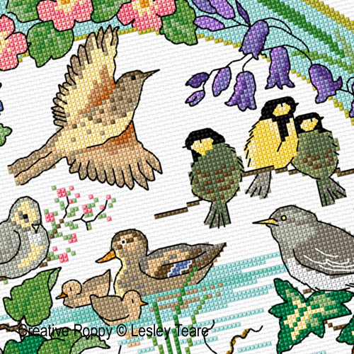 Lesley Teare Designs - Birds in Spring zoom 2 (cross stitch chart)