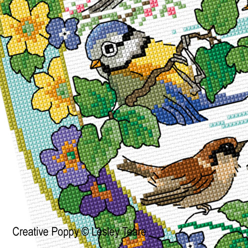 Lesley Teare Designs - Birds in Spring zoom 3 (cross stitch chart)