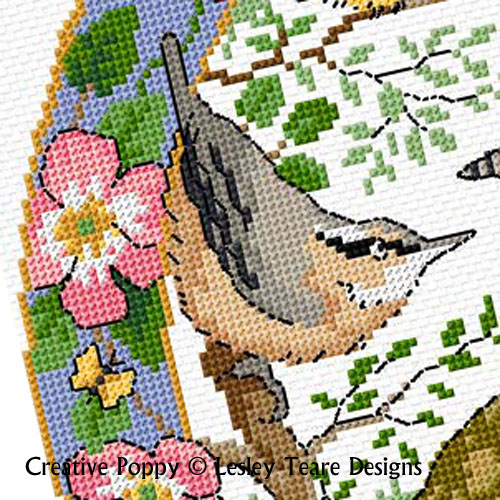 Lesley Teare Designs - Birds in summer zoom 3 (cross stitch chart)