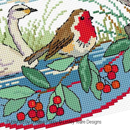 Birds in Winter cross stitch pattern by Lesley Teare Designs, zoom 1