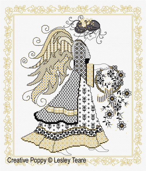 Blackwork Angel cross stitch pattern by Lesley Teare