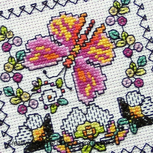 Blackwork butterfly cards pattern by Lesley Teare Designs, zoom1