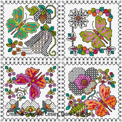Blackwork butterfly cards pattern by Lesley Teare Designs