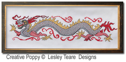 Blackwork Dragon  pattern by Lesley Teare Designs