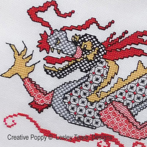 Blackwork Dragon  pattern by Lesley Teare Designs, zoom 1
