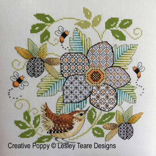 Blackwork Flower with Wren cross stitch pattern by Lesley Teare Designs