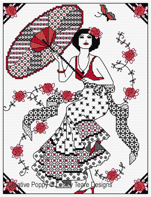 Blackwork Girl with Parasol  pattern by Lesley Teare Designs