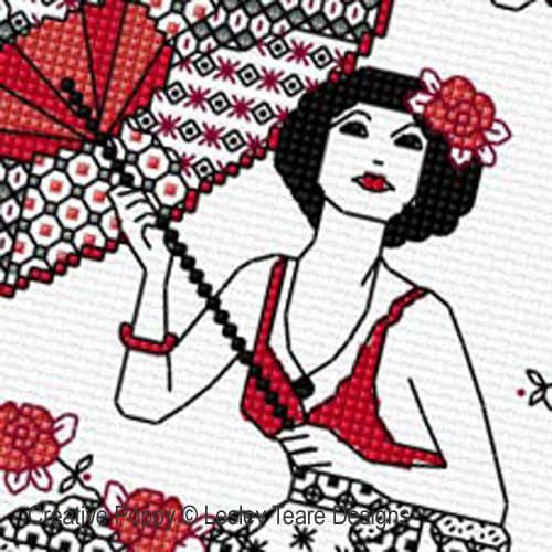Blackwork Girl with Parasol  pattern by Lesley Teare Designs, zoom 1