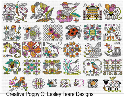 30 mini motifs - Blackwork & Color cross stitch pattern by Lesley Teare Designs