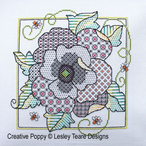 Lesley Teare Designs - Poppy Blackwork (cross stitch chart)