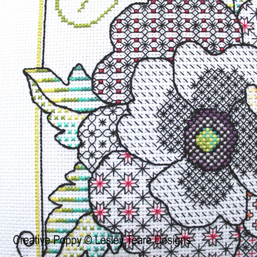 Detail: Poppy Blackwork Blackwork pattern by Lesley Teare Designs