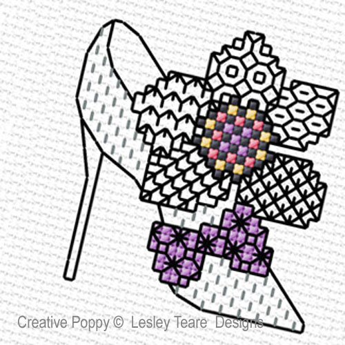 Blackwork Shoes  pattern by Lesley Teare Designs
