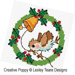 Christmas Bird Wreaths cross stitch pattern by Lesley Teare Designs, zoom 1