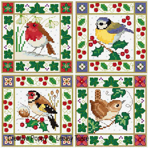 Christmas Birds (card mini motifs) cross stitch pattern by Lesley Teare Designs