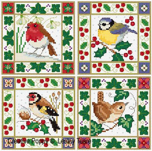 Lesley Teare Designs Christmas Birds Cards Cross