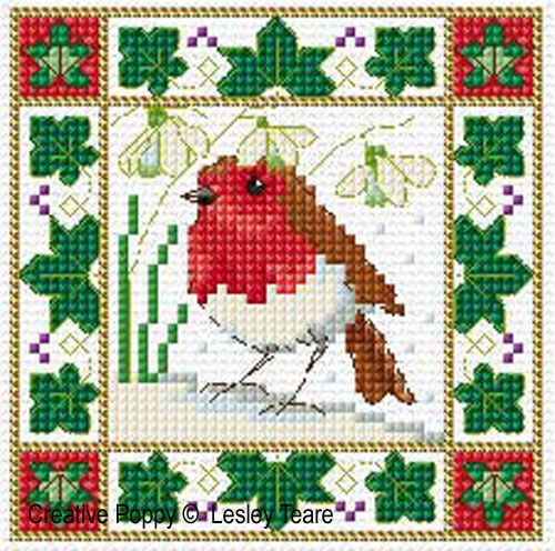 Christmas Birds (card mini motifs) cross stitch pattern by Lesley Teare Designs, zoom 1