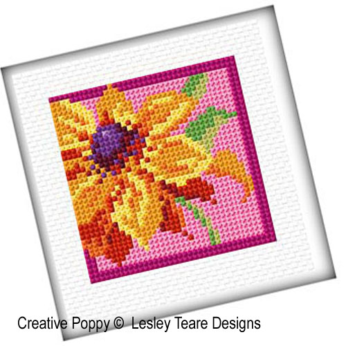 Colorful flowers cross stitch pattern by Lesley Teare Designs, zoom 1