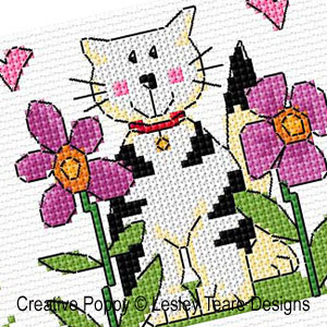 Cute cats cross stitch pattern by Lesley Teare Designs, zoom 1