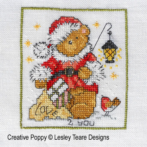 Cute Christmas Teddy cards cross stitch pattern by Lesley Teare Designs