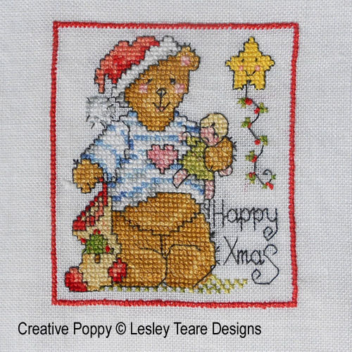 Cute Christmas Teddy cards cross stitch pattern by Lesley Teare Designs, zoom1