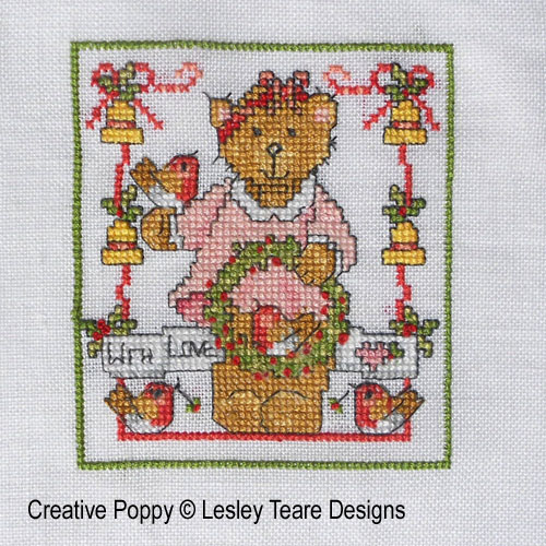 Cute Christmas Teddy cards cross stitch pattern by Lesley Teare Designs, zoom3