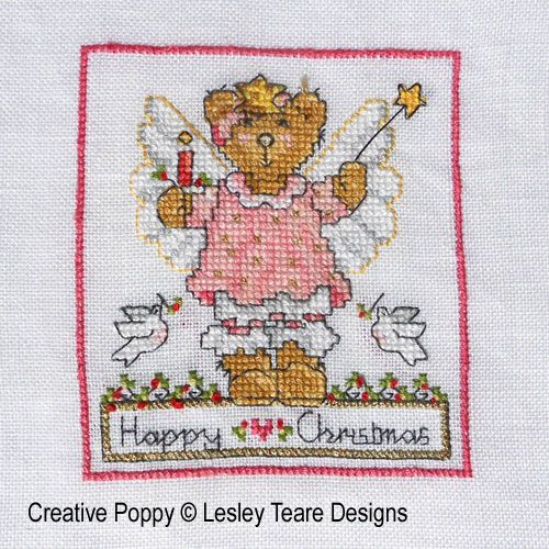 Cute Christmas Teddy cards cross stitch pattern by Lesley Teare Designs, zoom2