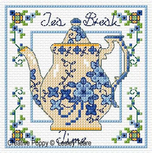 Decorative Teapots cross stitch pattern by Lesley Teare Designs, zoom3