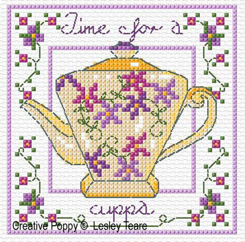 Decorative Teapots cross stitch pattern by Lesley Teare Designs, zoom1
