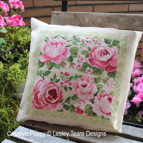 Delightful pink Roses cross stitch pattern by Lesley Teare Designs