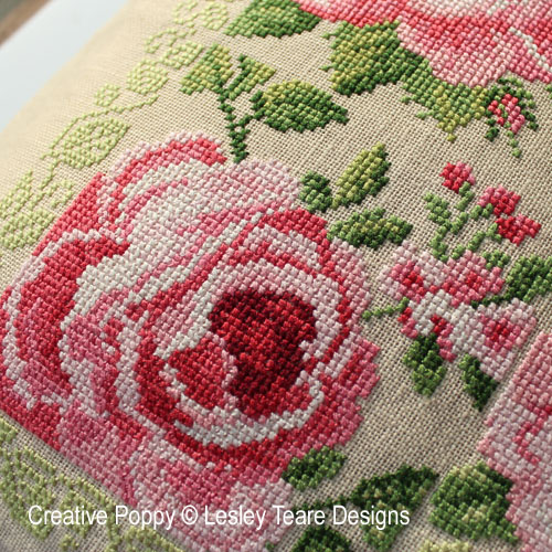 Delightful pink Roses cross stitch pattern by Lesley Teare Designs, zoom 1