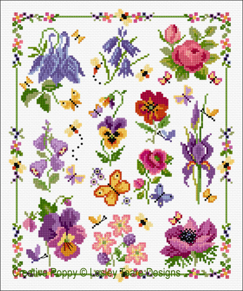 12 Flower Sampler cross stitch pattern by Lesley Teare Designs