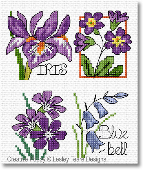 Lesley Teare Designs - 30 Spring Flower motifs zoom 1 (cross stitch chart)
